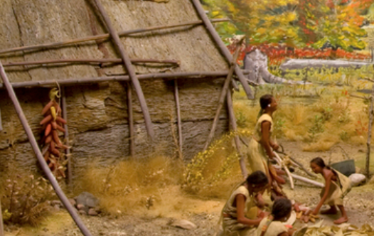 Photo showing a part of an old diorama of Great Lakes tribal life